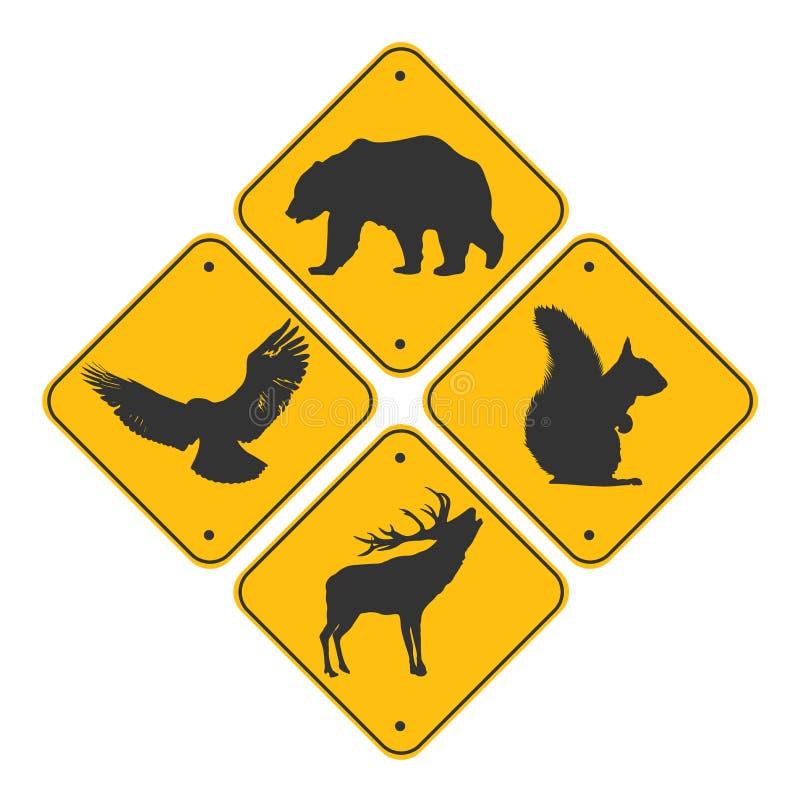 Encadrement routier des animaux Couleur noire Ours, aigle, cerf et écureuil illustration de vecteur