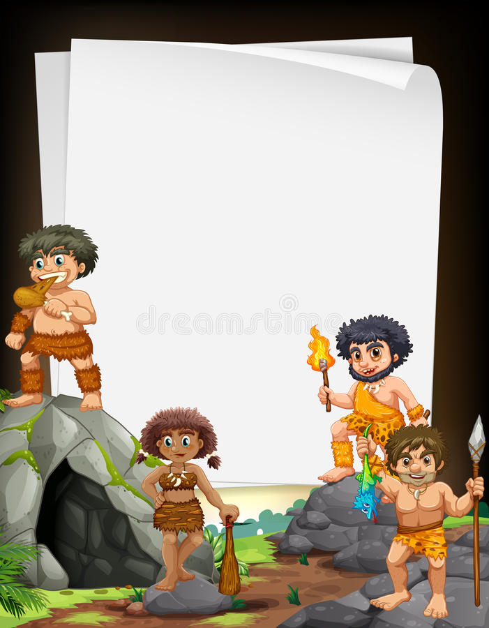 Encadrez la conception avec des hommes des cavernes vivant à la caverne illustration de vecteur
