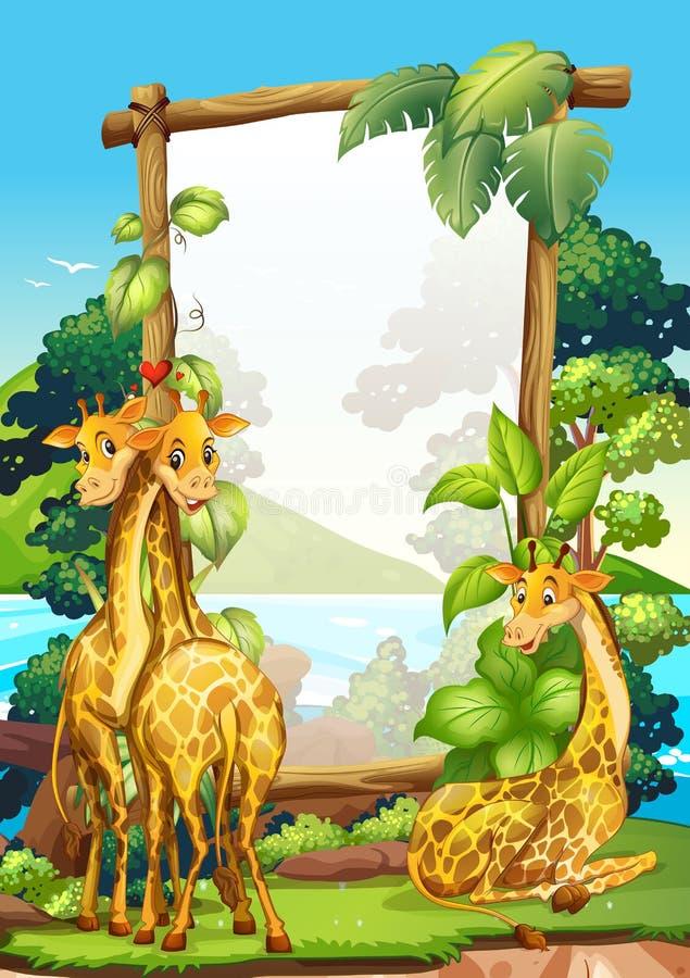 Encadrez la conception avec trois girafes en parc illustration stock