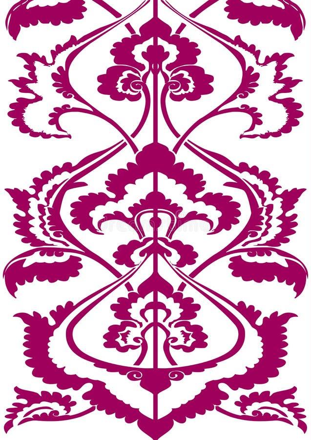 Encadrez la silhouette florale, motif d'Oriental de fond d'isolement par modèle floral vertical illustration stock