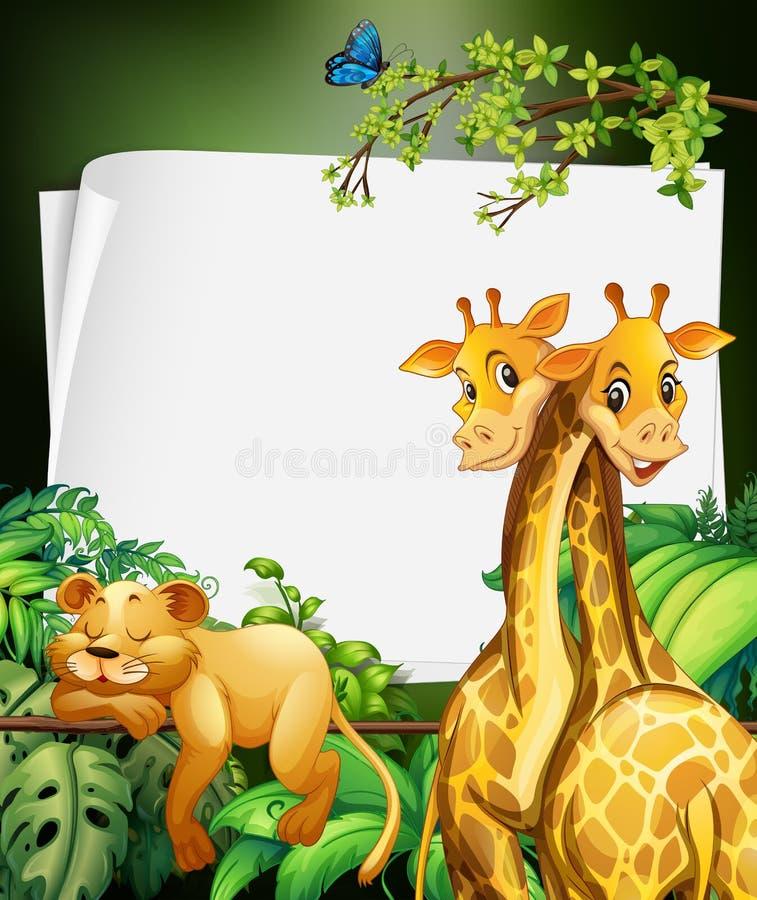 Encadrez le deisgn avec les girafes et le lion dans les bois illustration stock