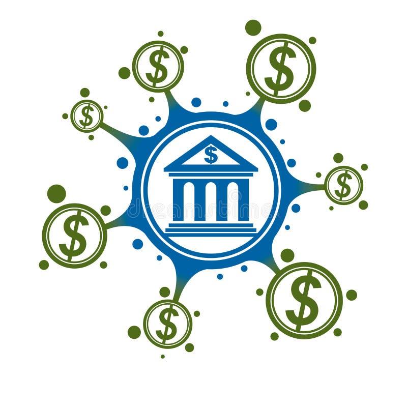 Encaisser le logo conceptuel, symbole unique de vecteur Système bancaire Le système financier global illustration libre de droits
