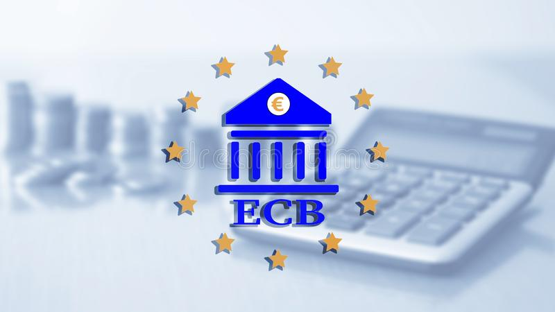 encaissez de l'Europe centrale BCE Opérations bancaires de capital de finances et concept d'investissement illustration de vecteur