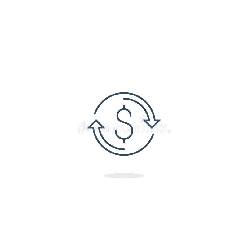Encaissez de retour, retour d'argent, assurance de finances et icône et logo d'investissement illustration libre de droits