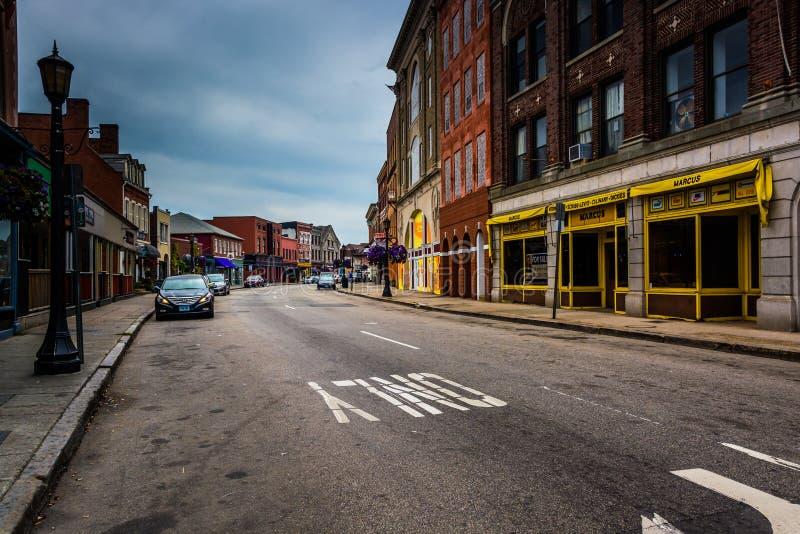 Encaissez la rue à nouvelle Londres du centre, le Connecticut photographie stock libre de droits