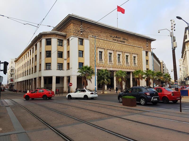 Encaissez le bâtiment du Maghreb d'Al à Casablanca, Maroc images libres de droits