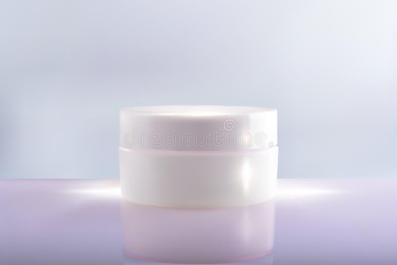 Encaissez le paquet crème sur un fond bleu rose le cosmétique du vecteur 3d composent la crème Conteneur crème cosmétique Choc de illustration stock