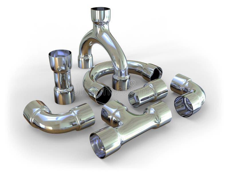 Encaixes de tubulação do metal ilustração do vetor