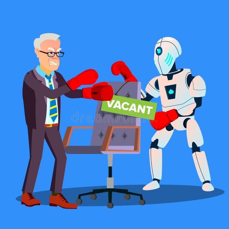 Encaixotamento do robô com homem de negócios For Vacant Place no trabalho, vetor do conceito da hora Ilustração isolada ilustração do vetor
