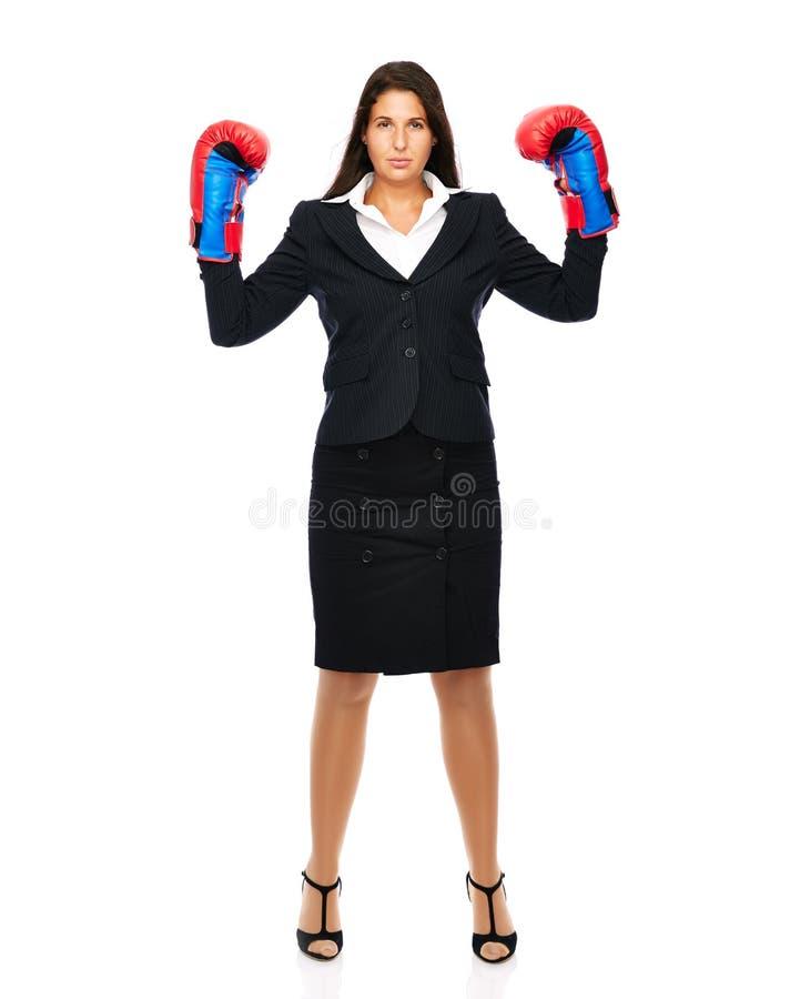 Encaixotamento ereto da mulher de negócio imagens de stock