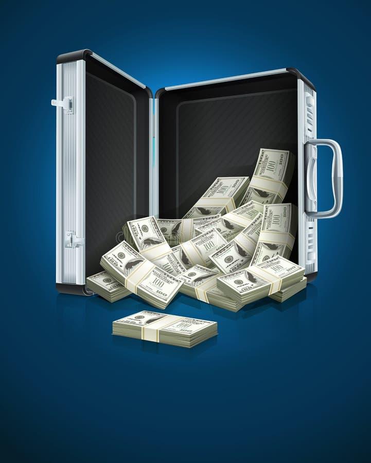 Encaixote com conceito do dinheiro dos dólares ilustração do vetor