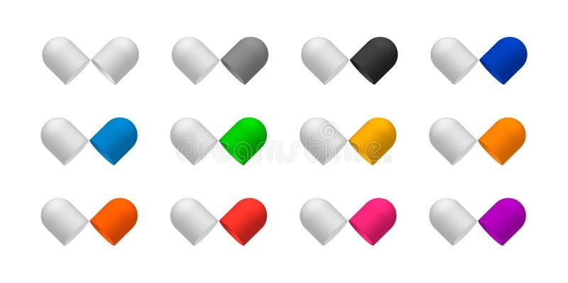 Encajone las cápsulas de la píldora abiertas en dos halfs brillantes fotos de archivo
