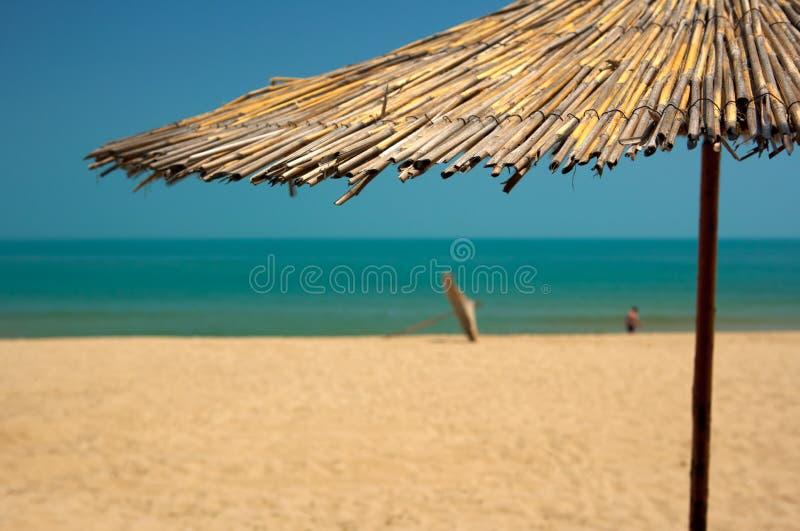 Encalhe com areias douradas e água de mar azul fotos de stock royalty free