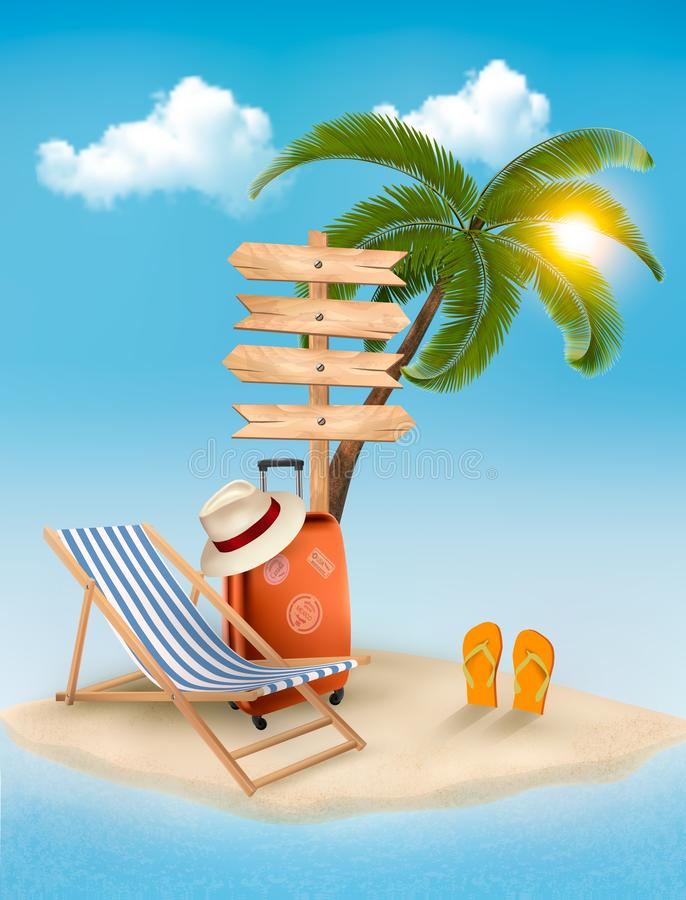 Encalhe com uma palmeira, um sinal de sentido e uma cadeira de praia. Summ ilustração do vetor