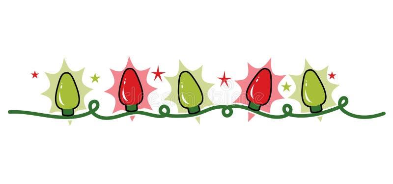 Encalhe a corda de luzes, de vermelho e de verde de Natal do feriado ilustração stock