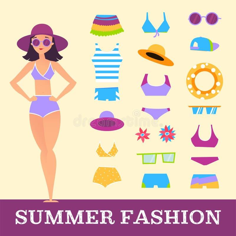 Encalhe a forma Menina e acessórios variados da roupa Estilo dos desenhos animados ilustração stock