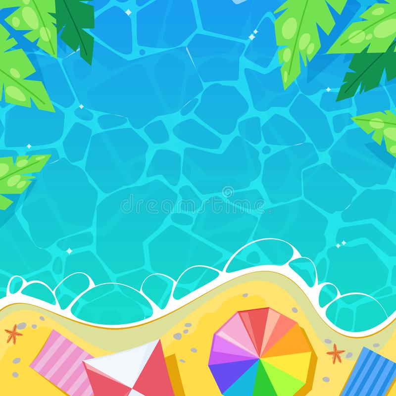 Encalhe guarda-chuvas listrados pelo mar, ilustração do vetor da vista superior Conceito das férias de verão, do curso e das féri ilustração do vetor