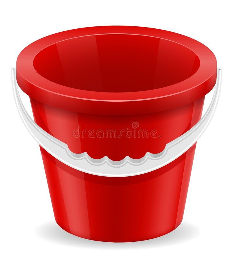 Encalhe o brinquedo das crianças vermelhas da cubeta para o illustratio do vetor do estoque da areia ilustração stock
