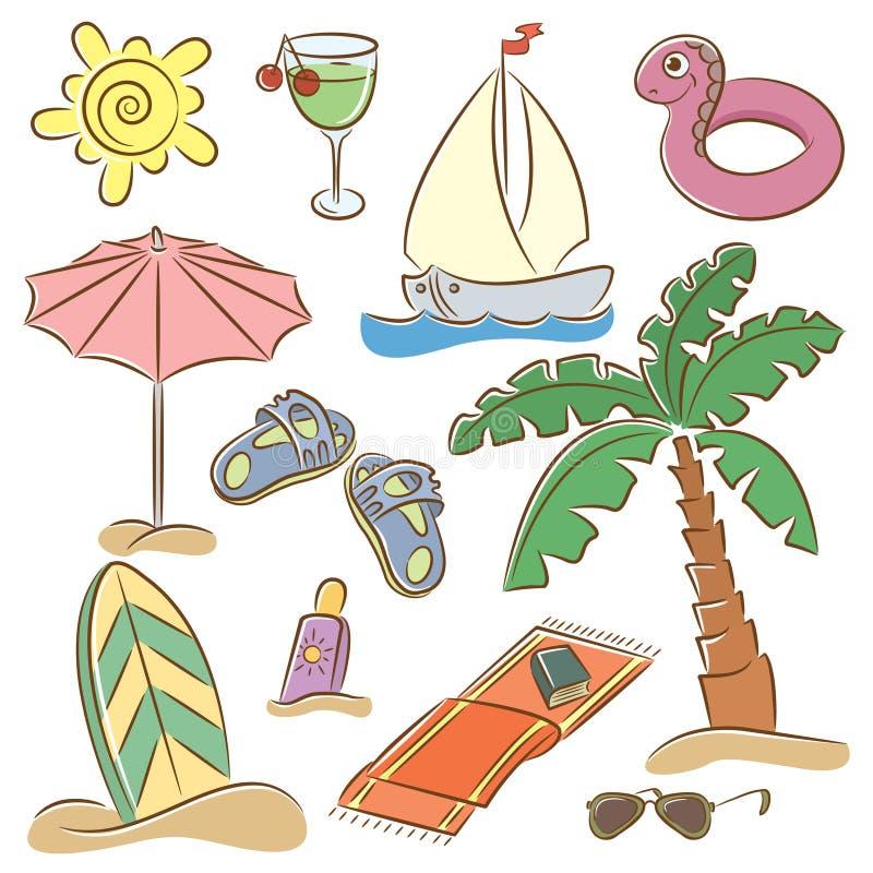 Encalhe o jogo do ícone das férias ilustração do vetor