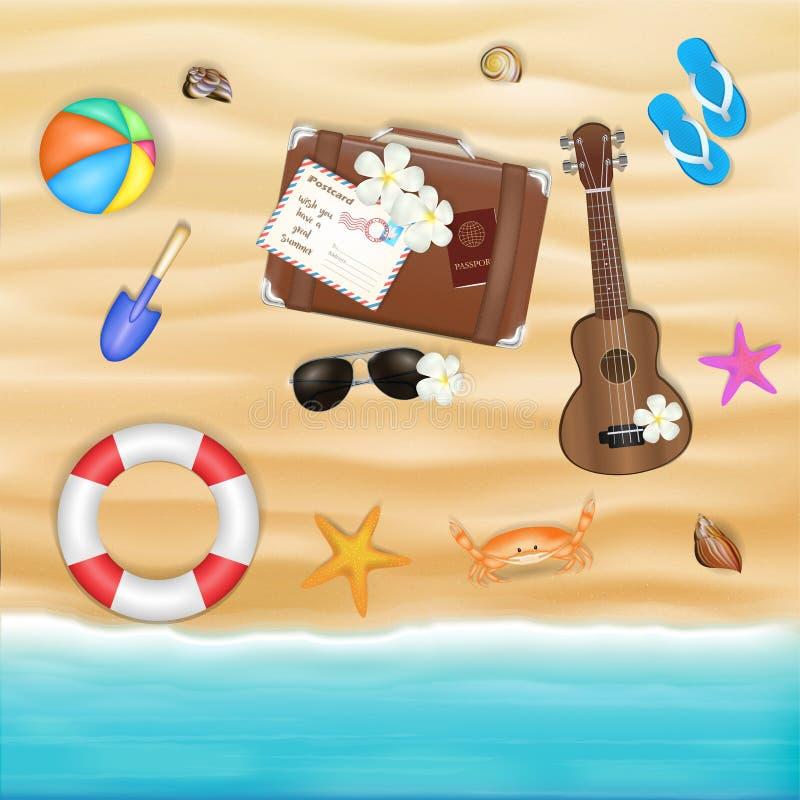 Encalhe o objeto do curso em uma praia da areia do mar ilustração royalty free