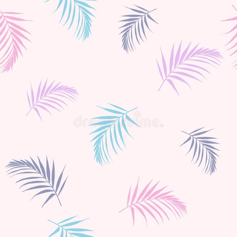 Encalhe o papel de parede sem emenda alegre do teste padrão de folhas de palmeira tropicais da doce-cor das palmeiras em um fundo ilustração stock