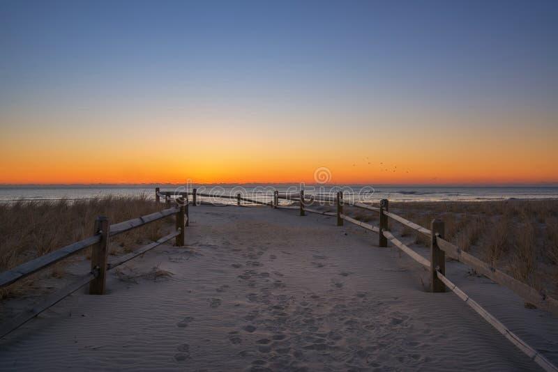 Encalhe o trajeto que conduz ao oceano no nascer do sol imagens de stock