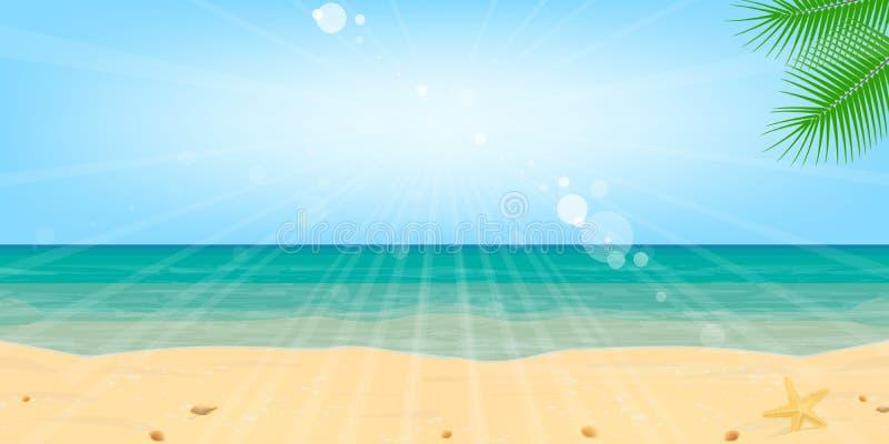 Encalhe o vetor do fundo da paisagem do sol da água da areia do mar ilustração do vetor
