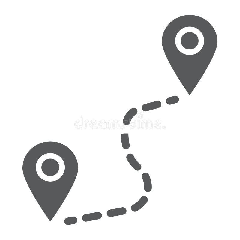 Encamine el icono del glyph, el viaje y el turismo, ubicación stock de ilustración