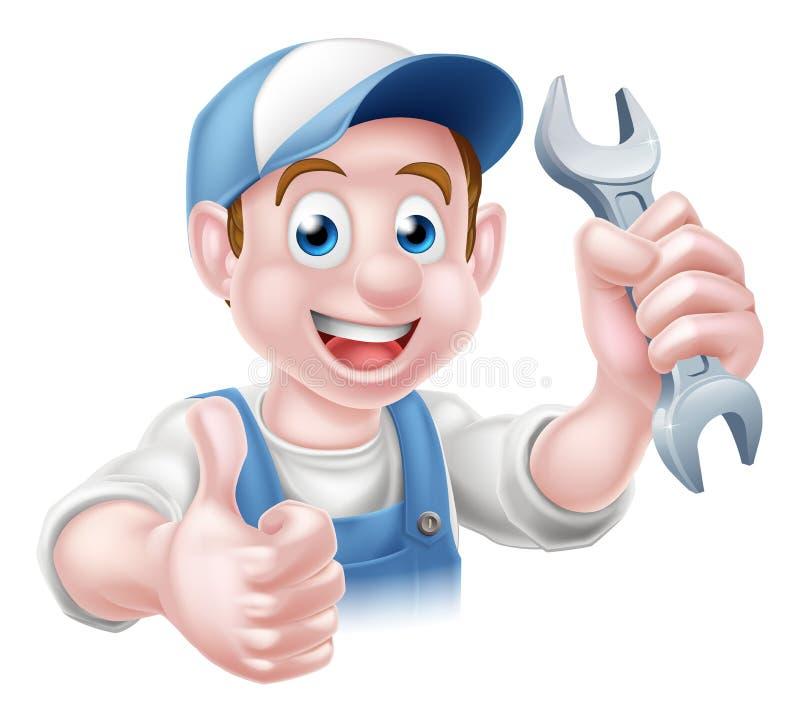 Encanador Cartoon Man do mecânico ilustração royalty free