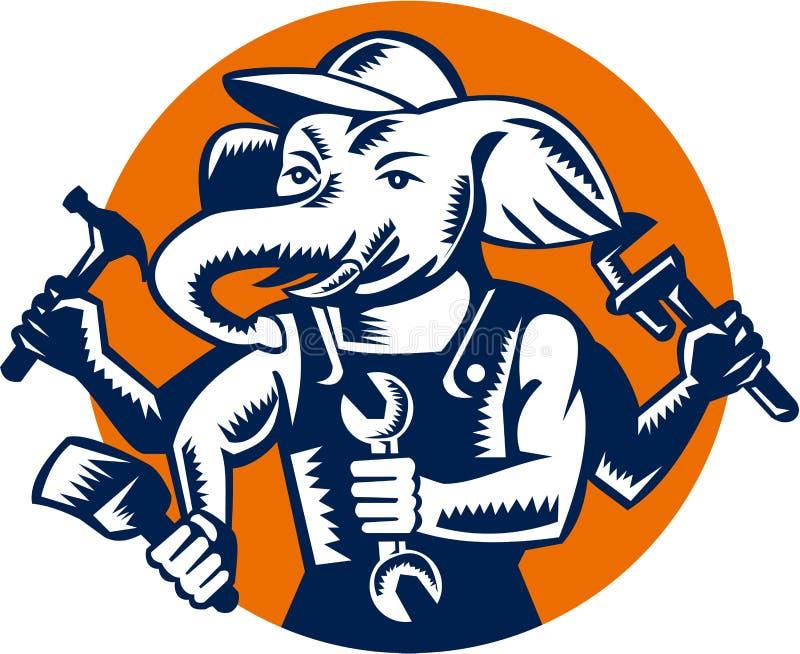 Encanador Mechanic Painter Circle do construtor do elefante retro ilustração royalty free