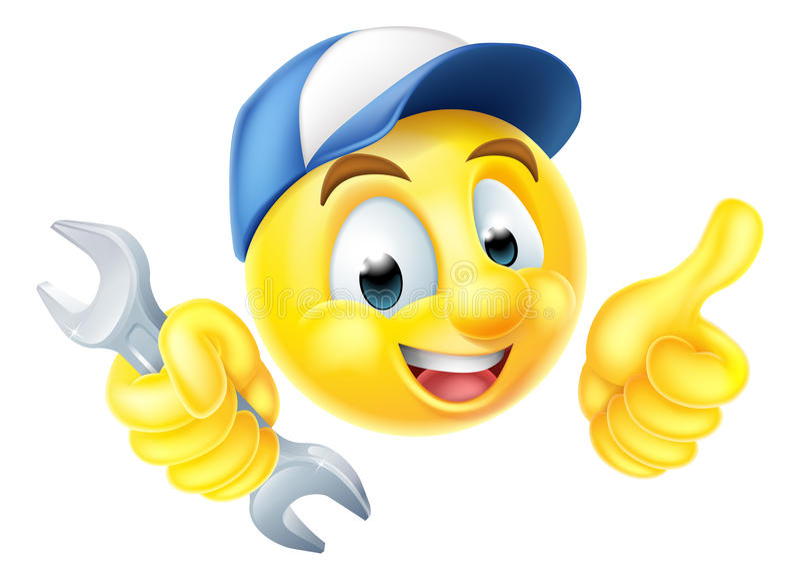 Encanador Spanner Emoticon Emoji do mecânico ilustração royalty free