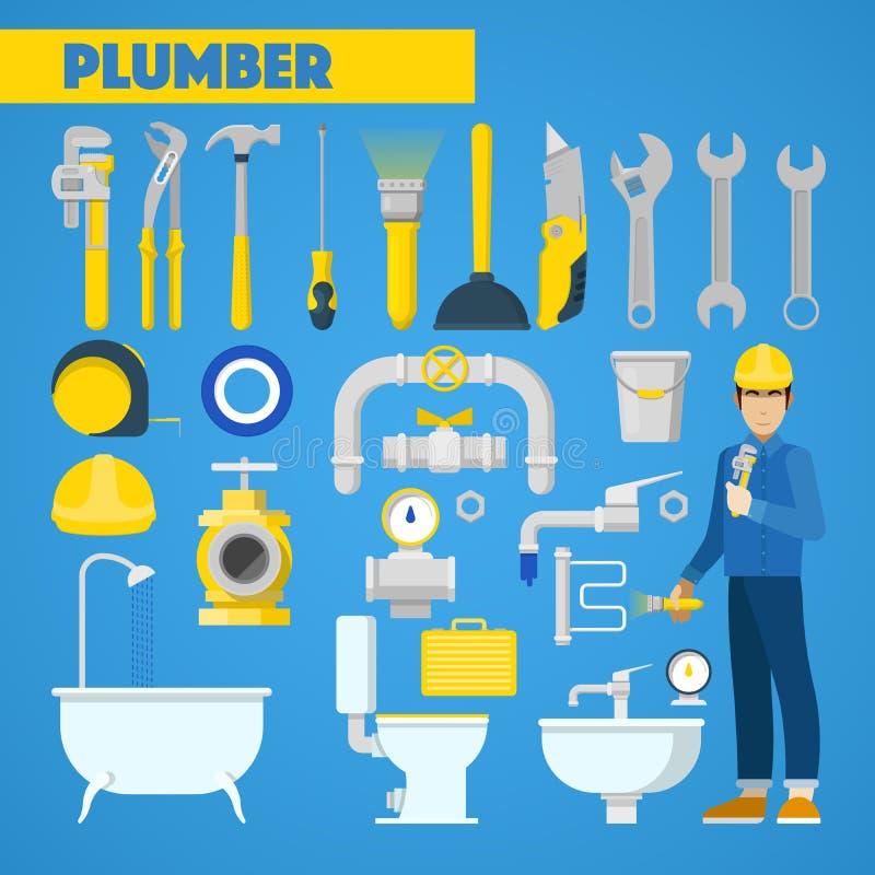Encanador Worker com elementos do grupo e do banheiro de ferramentas ilustração do vetor