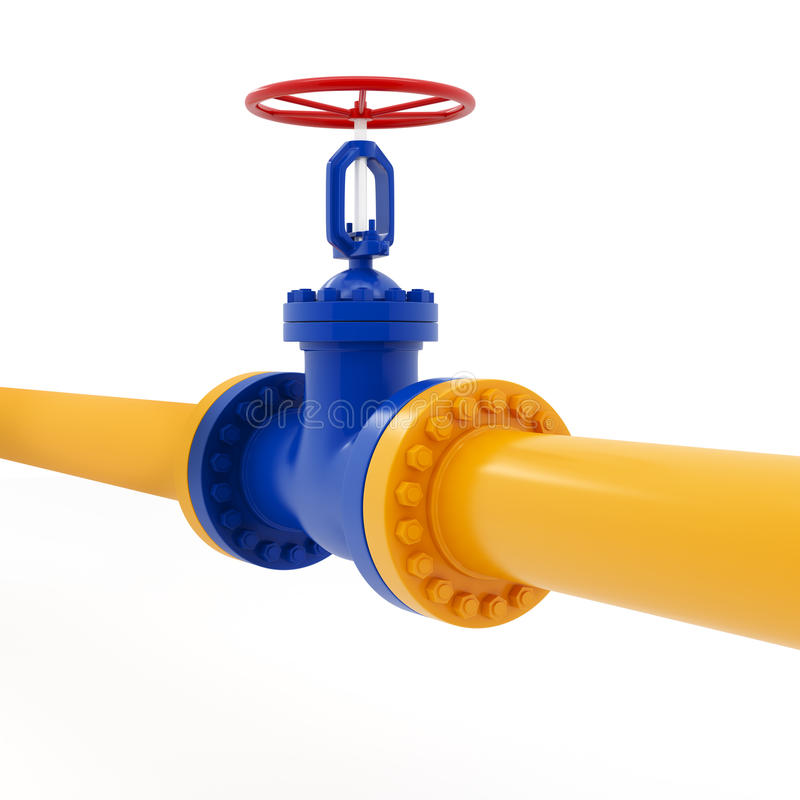 Encanamento amarelo com válvula vermelha foto de stock royalty free