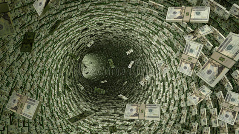Encanamento do dólar - lotes de 20 notas de dólar ilustração stock
