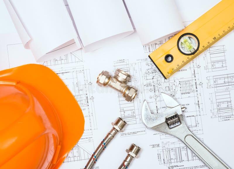 Encanamento e desenhos, da construção vida ainda foto de stock royalty free