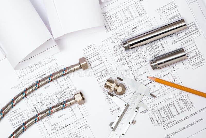 Encanamento e desenhos, da construção vida ainda fotografia de stock