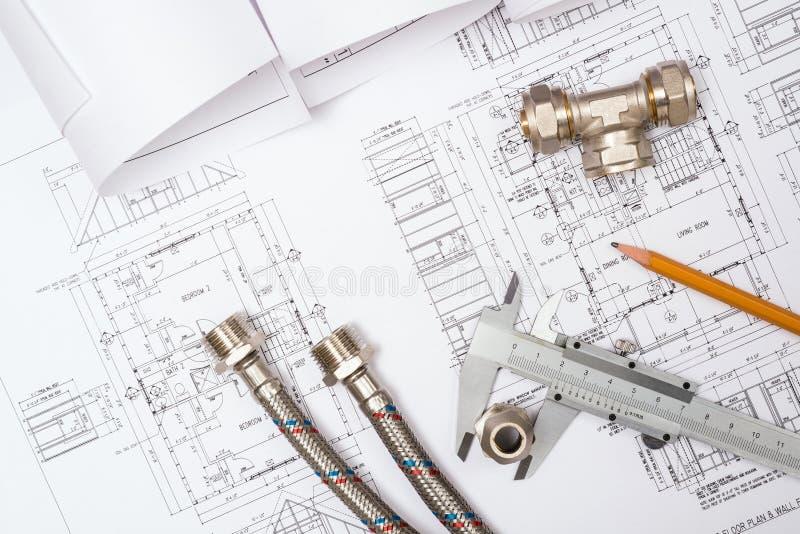 Encanamento e desenhos, da construção vida ainda imagens de stock