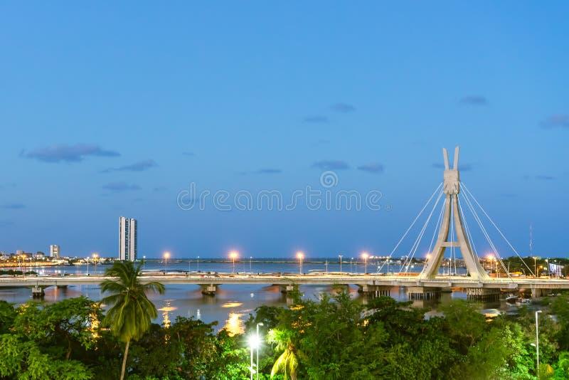 Encanta Moça Bridge and Capibaribe river view, Recife, Pernambuco stock photos