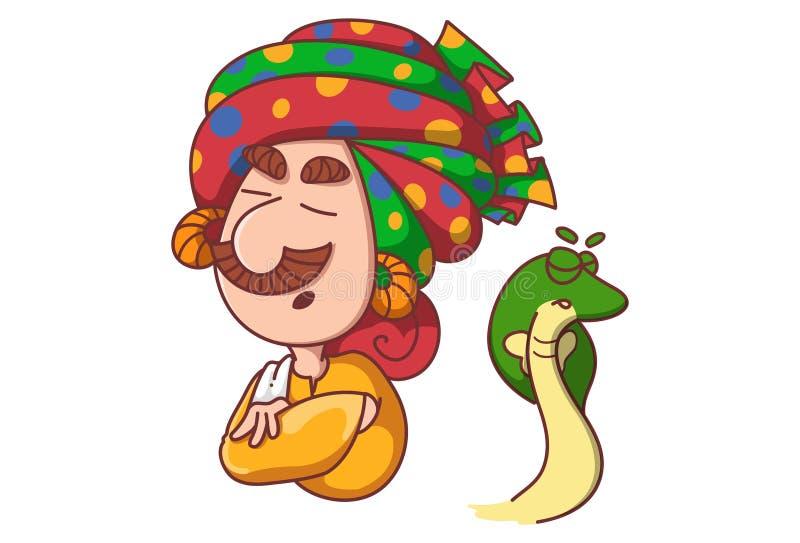 Encantador de serpiente de la historieta Illustration ilustración del vector
