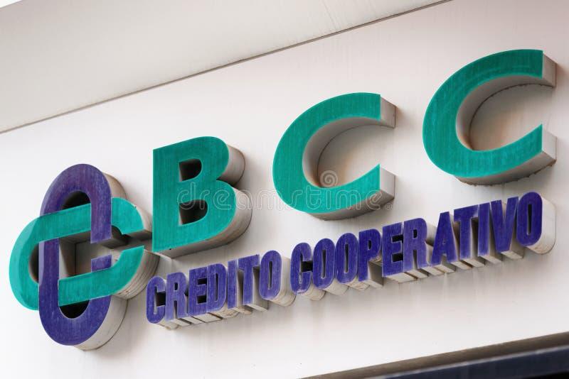Encante la placa de los di Roma de Banca di Credito Cooperativo imagen de archivo