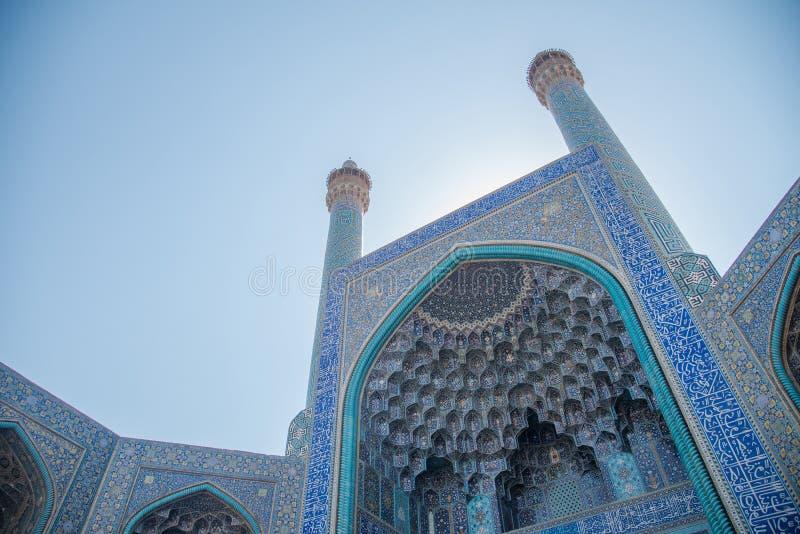 Encante la puerta de la mezquita del Sah en Isfahán, Irán imágenes de archivo libres de regalías
