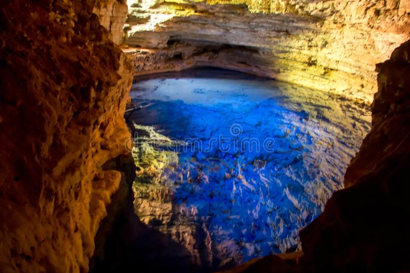 The Encanted Well-Poço Encantado in Bahia Brazil. The Encanted Well-Poço Encantado in the Northeast of Brazil in the State of Bahia stock photography