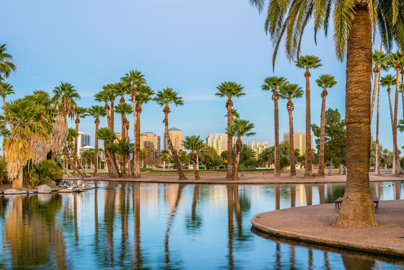 Encanto Park in Phoenix at Sundown royalty free stock photos