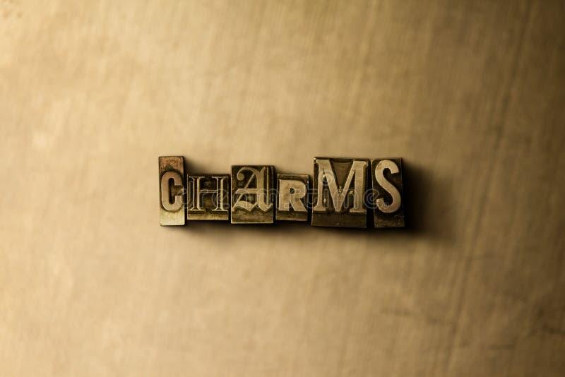 ENCANTOS - close-up vintage sujo da palavra typeset no contexto do metal ilustração do vetor