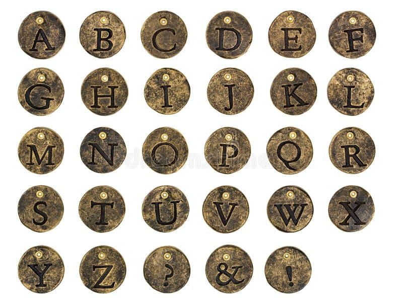 Encantos de pedra do botão do alfabeto ilustração stock