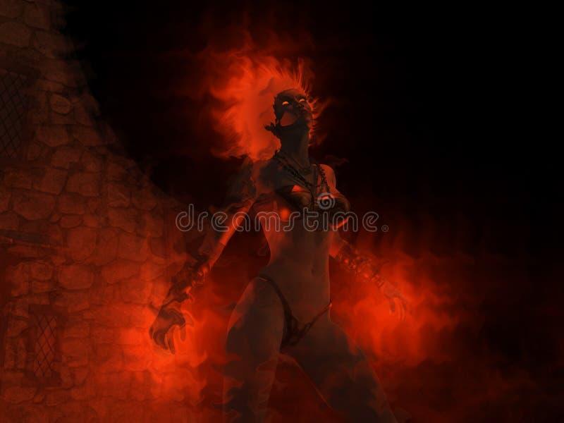 Encantos do incêndio do castin da mulher do feiticeiro ilustração royalty free