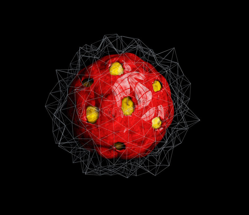 Encapsulated Virus cell in the human organism, 3d illustration of virus cell royalty free illustration