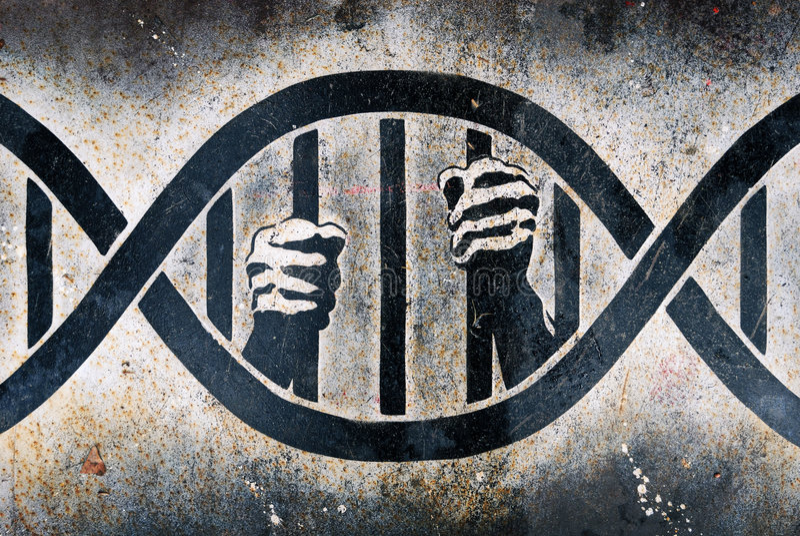 Encarcelado en jaula de la DNA imagen de archivo libre de regalías