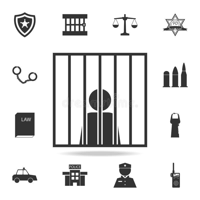 encarcele el icono humano criminal del hombre de la persona del prisioner de las barras de las manos Sistema detallado de iconos  libre illustration