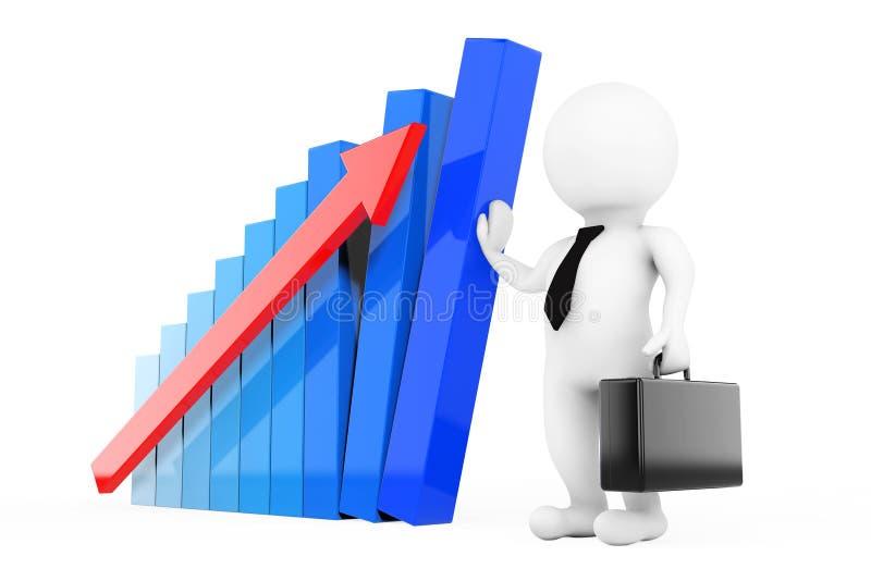 Encargado Concept de la crisis control del hombre de negocios 3D un gráfico del crecimiento 3D r libre illustration